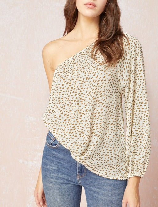 Amelia Spotted One Shoulder Blouse