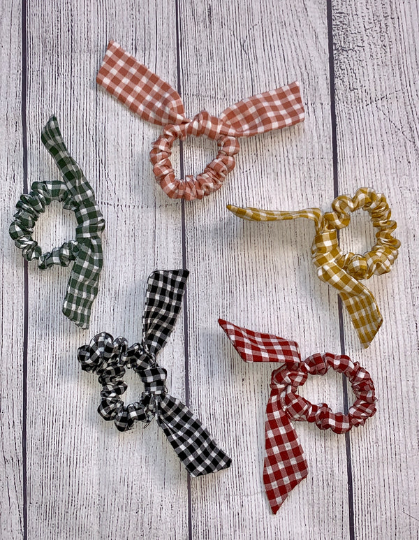 Hey Boo Boo Gingham Top Knot Bow Scrunchie