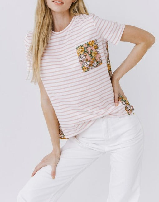 Layton Striped Floral Pocket Tee
