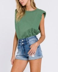 Green // Toby Padded Shoulder Tee
