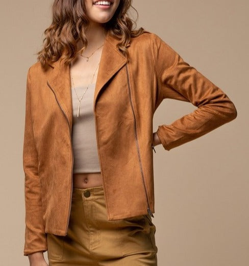 Richmond Tan Suede Moto Jacket