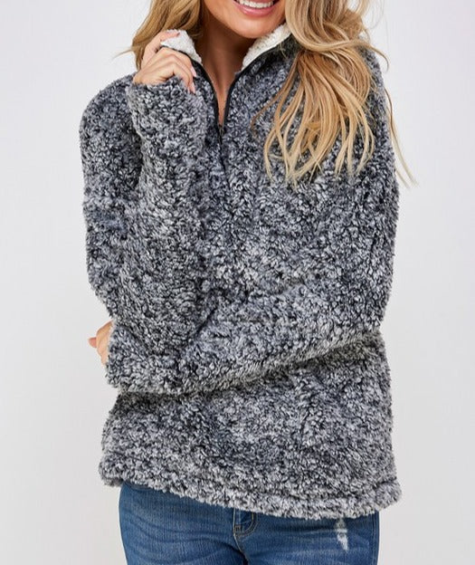 Charcoal // Dress for Comfort Sherpa Pullover