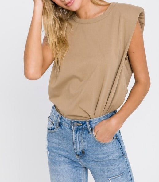 Taupe // Toby Padded Shoulder Tee