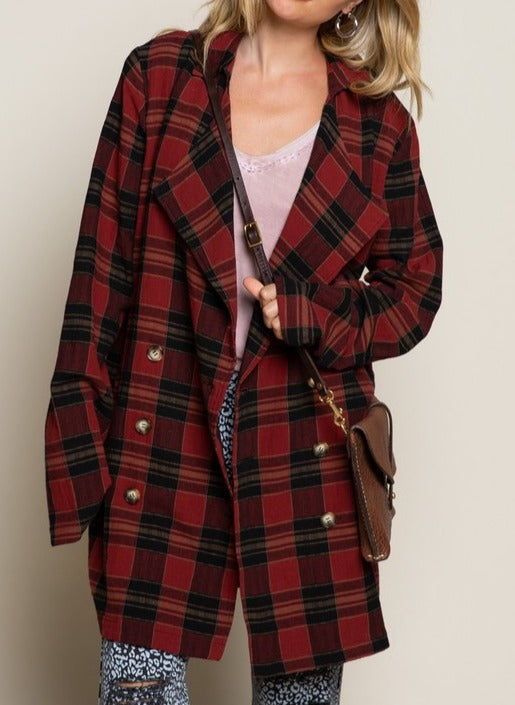 No Doubt Cranberry Wine Plaid Shirt Jacket