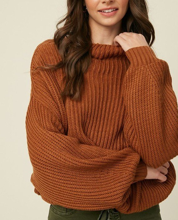 Camel // Mingle Ribbed Mock Neck Knit Sweater