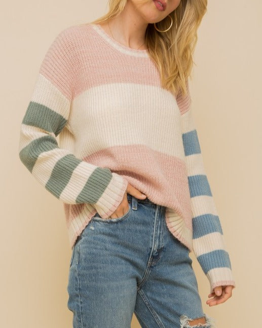 Snuggling Season Soft Color Block Sweater