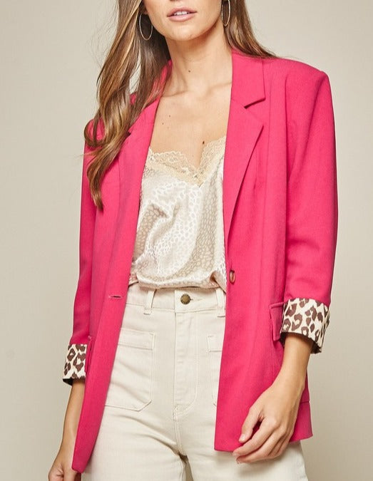At it's Finest Leopard Lined Hot Pink Blazer