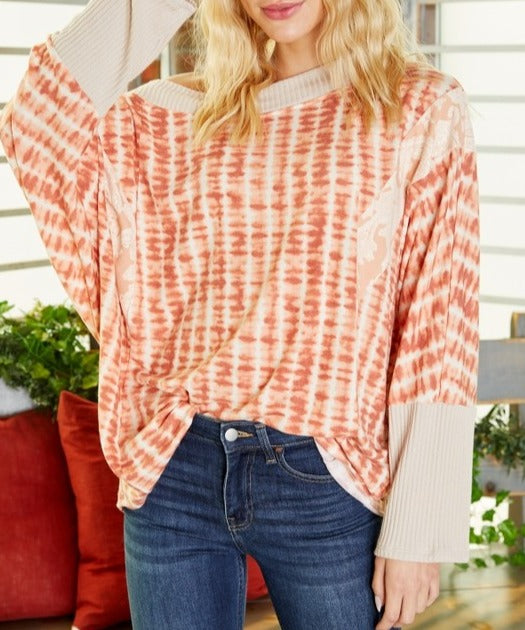 On Many Occasions Rust Dolman Sleeve Top
