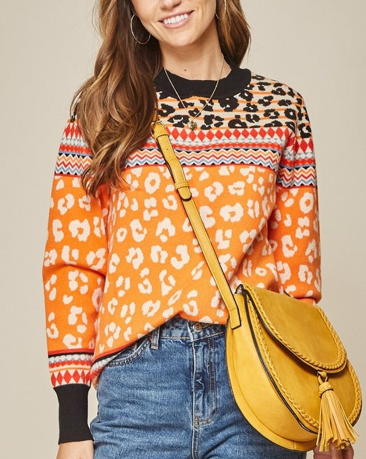 Zadie Leopard Sweater // Orange or Black