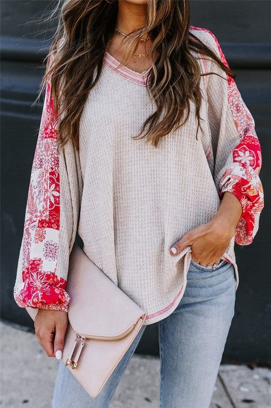 Allie Floral Patchwork Thermal Knit Top