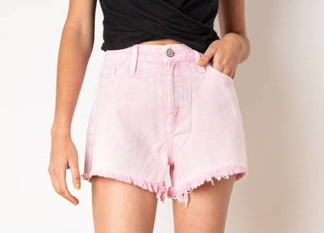 Call Me Maybe High Rise Pink Distressed Shorts