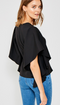 Idolized Cascading Ruffle Sleeve Top - Black