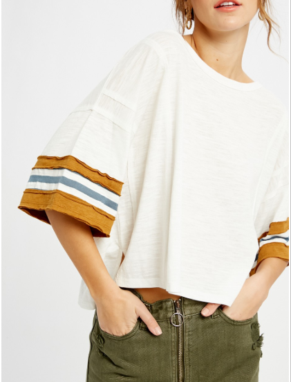 Cooper Jane Stripe Sleeve T-Shirt