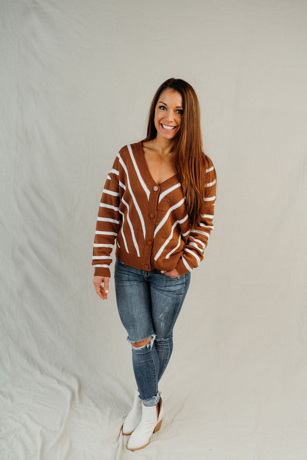 Country Club V Neck Stripe Long Sleeve Cardigan