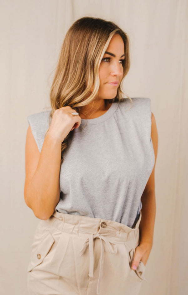 Grey // Toby Padded Shoulder Tee