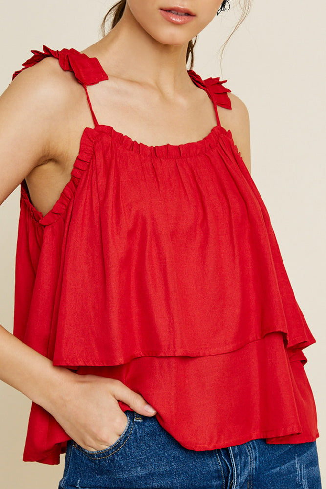 Red Poppy Pleated Strap Tank