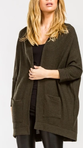 Homebody Soft Olive Pocket Cardigan