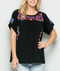Isla Maria Embroidered Summer Top - BLACK