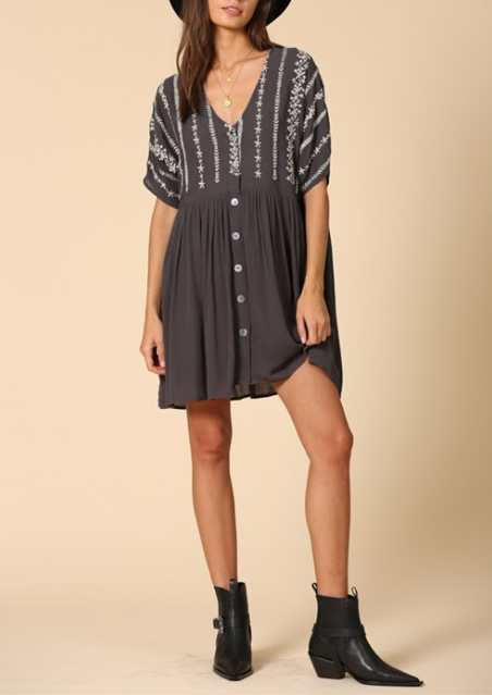 Kayla Embroidered Button Dress