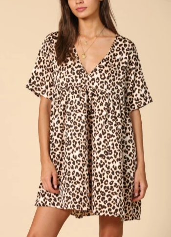 Wild Hearts Leopard Baby Doll Tunic / Dress