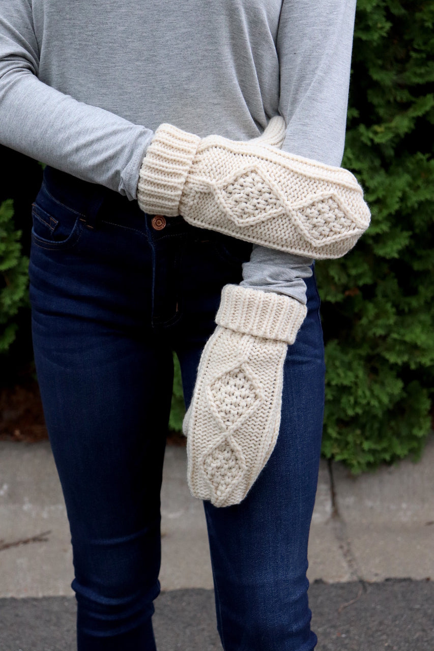 Cream Fleece Lined Mittens