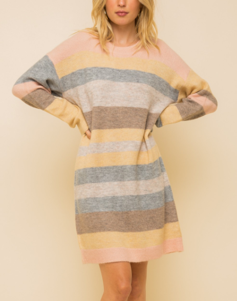 Melanie Pastel Multi Stripe Sweater Dress