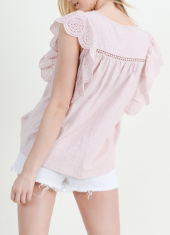 Misty Pink Eyelet Lace Ruffle Top