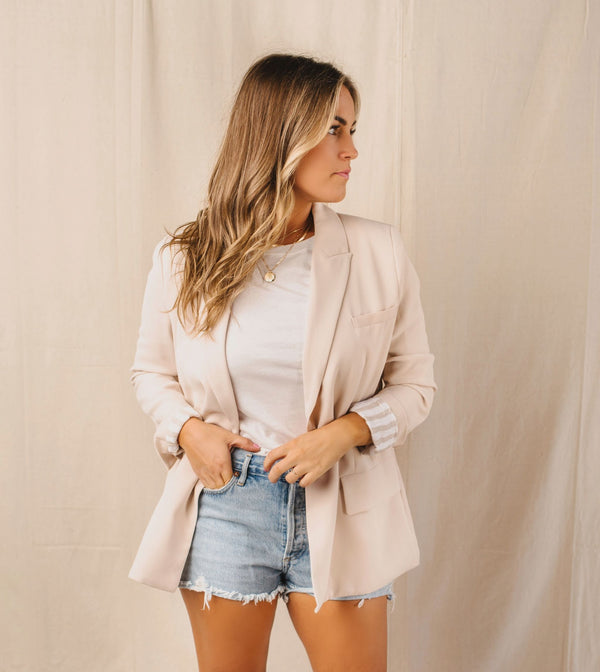 Monroe Solid Double-Breasted Oversized Boyfriend Blazer