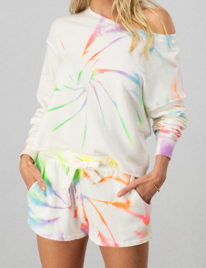Neon Utopia Tie Dye Cropped French Terry Pullover