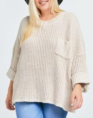 Chenille Dreams Taupe Loose Knit Sweater