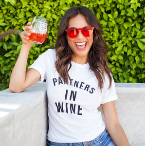 Partners in Wine White Boyfriend Tee