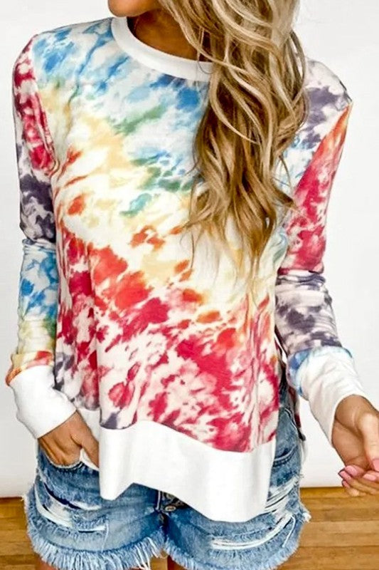Living in Color Rainbow Tie Dye Hi Low Pullover