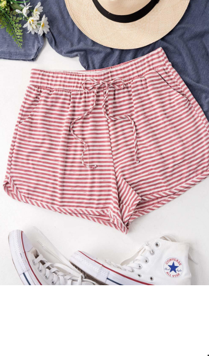 Light Pink ~ Summer Worthy Striped Drawstring Shorts