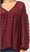 Seriously Smitten Babydoll Top - Burgundy