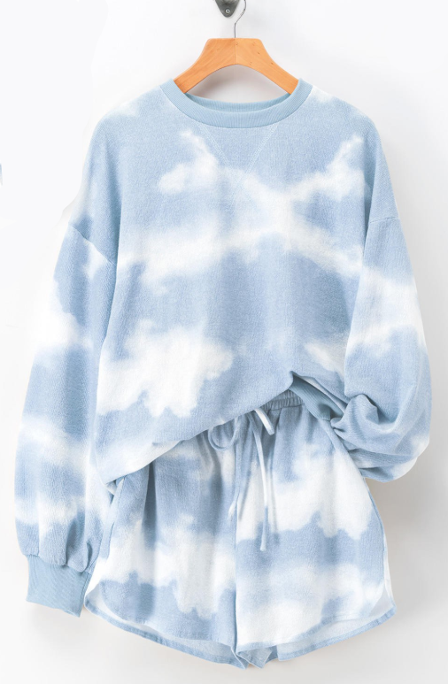 Siesta Time Tie Dye Lounge Set // Blue or Taupe