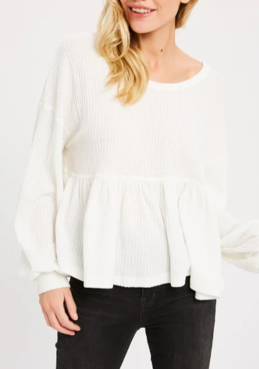 Sweet on You Waffle Peplum Top