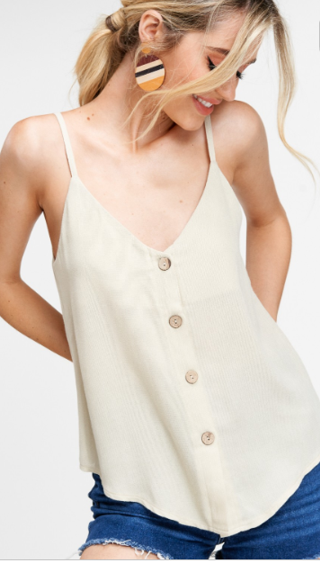 Vacay All Day Button Down Tank - Taupe
