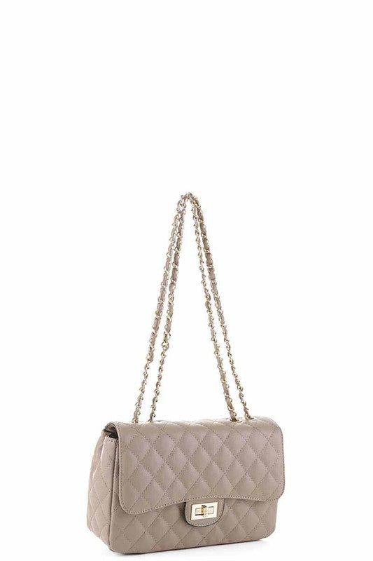 Highland Taupe Quilted Chain Clutch