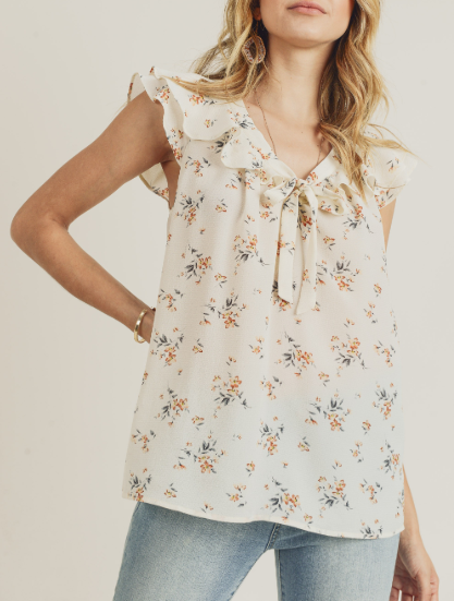 Tiny Blooms Ruffle Sleeve Top