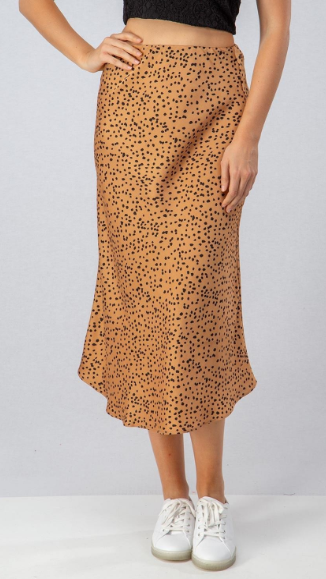 Trendy Spot Cheetah Satin Midi Skirts - 2 Colors