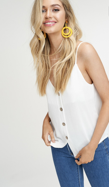 Vacay All Day Button Down Tank - White