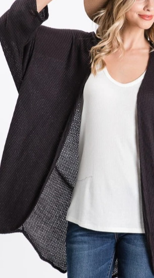 Beautiful Morning Waffle Knit Open Cardigan - Black