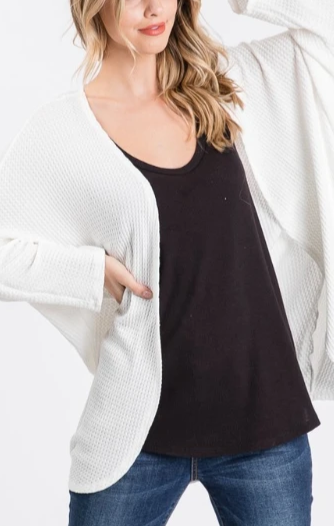 Beautiful Morning Waffle Knit Open Cardigan - Ivory
