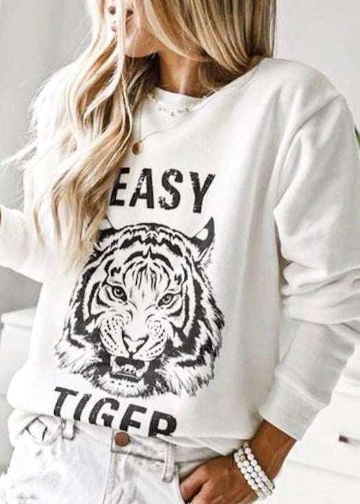Easy Tiger White Pullover Sweatshirt