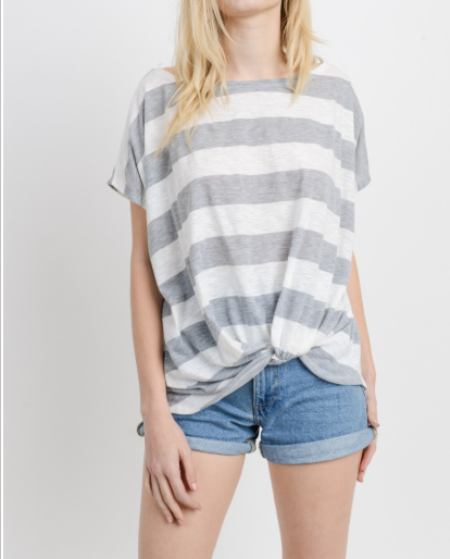 A Little Twist Wide Stripe Top - 2 Color Options