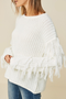 Snow Yeti Cream Fringe Sweater