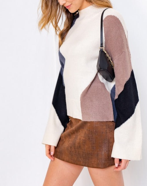 Bia Mock Neck Color Block Sweater