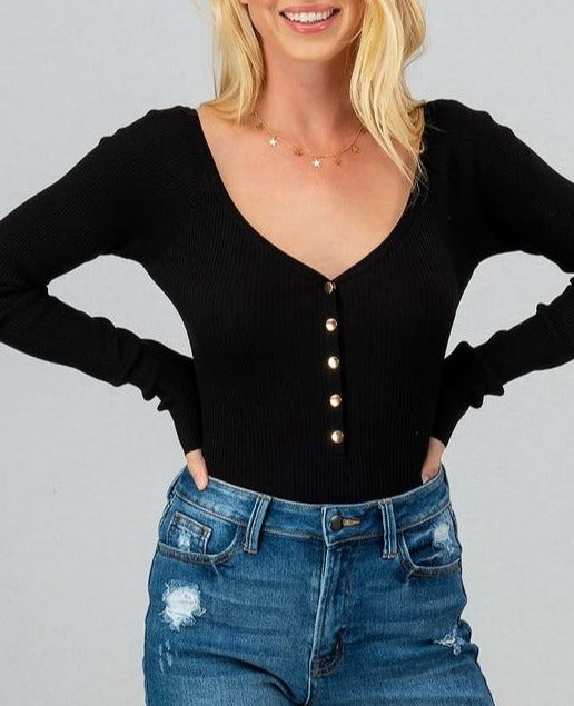 Elle Rib Knit Button Down Black Body Suit