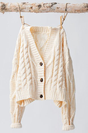 Alecia Cable Knit Cropped Button Sweater Cardigan