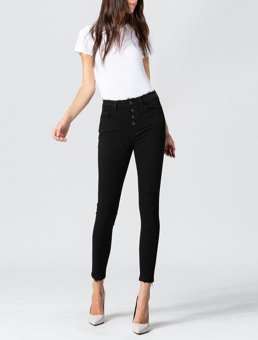 No More Black High Rise Button Up Crop Skinny